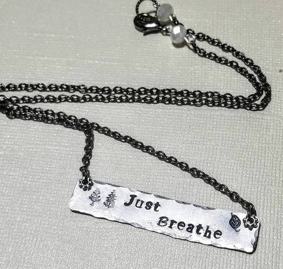 Just Breathe - stamped metal necklace