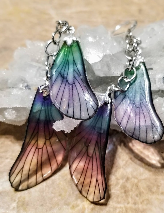 Iridescent Dragonfly Wings Earrings - Double The Fun