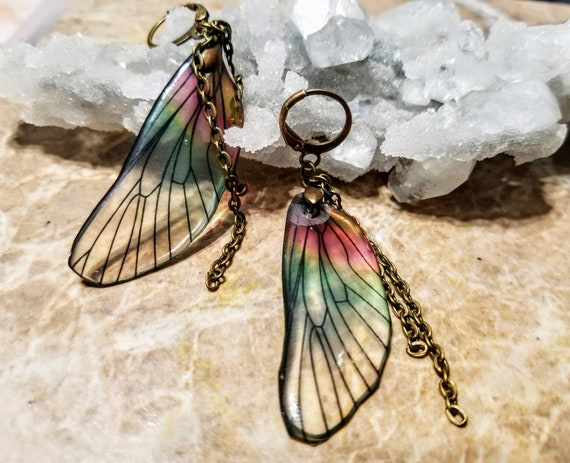 Iridescent Single Dragonfly Wing Earrings - Chained to the Rainbow