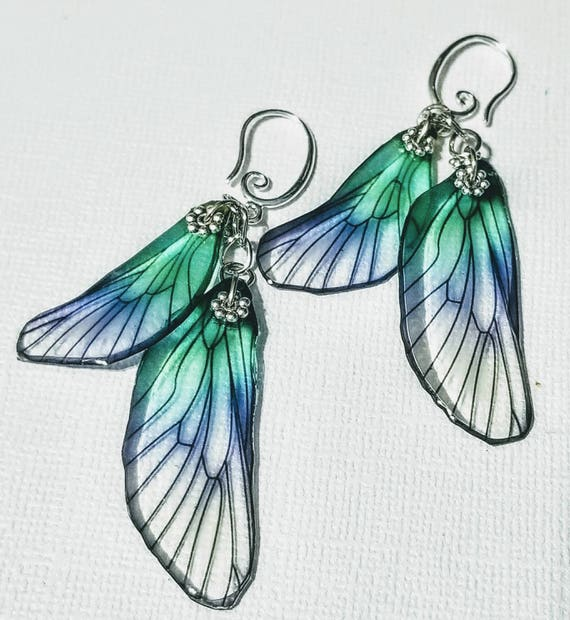 Iridescent Blue Dragonfly Wings Earrings
