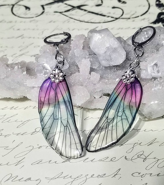 Iridescent Single Dragonfly Wing Earrings - Watermelon Candy
