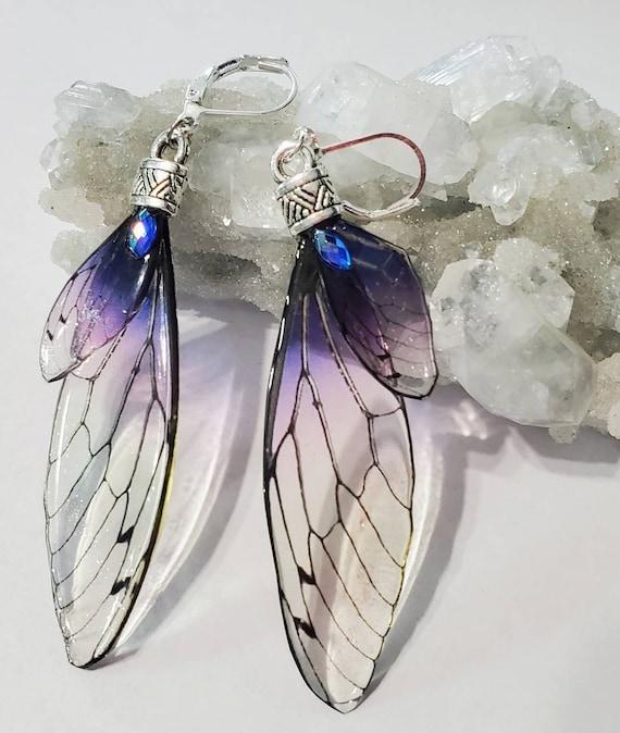 Iridescent FAIRY Wings Earrings - Perfect Plum