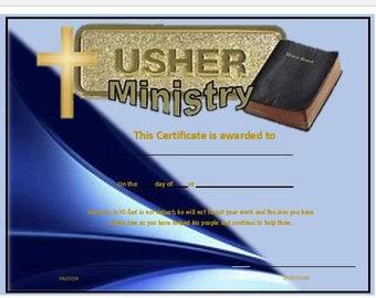Usher Certificate Appreciation | Etsy