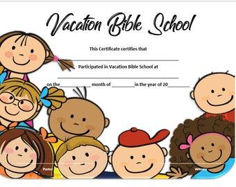 graphic regarding Vbs Certificate Printable identified as Holiday vacation bible Etsy