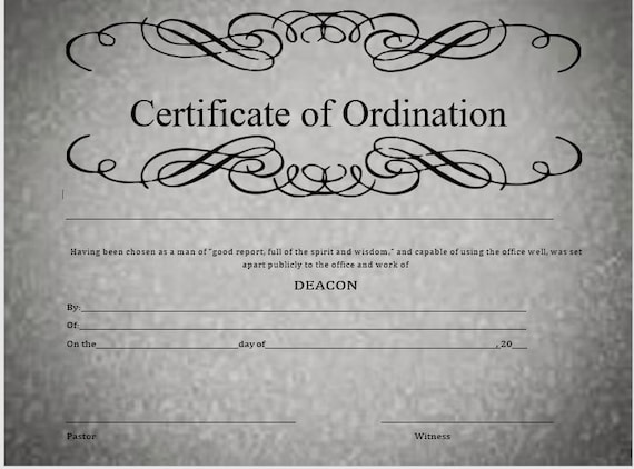 Deacon Ordination Certificate | Etsy