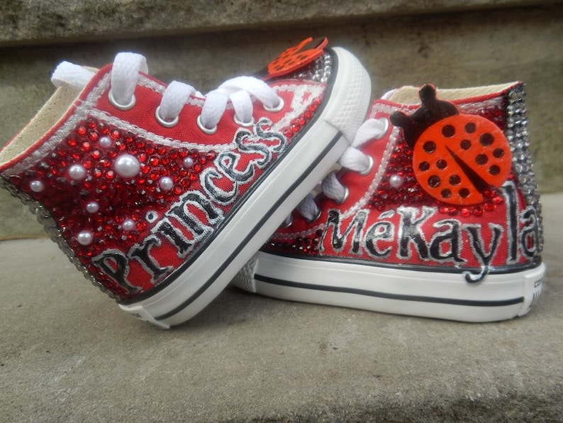 015c4dd428fd Bedazzled Converse shoes BOTH sides of shoe Chuck Taylor shoes
