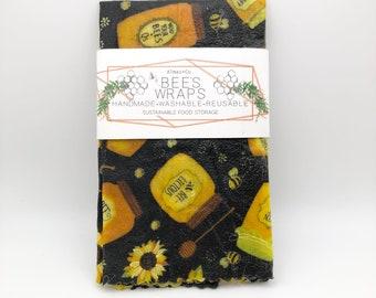 Sunflower Honey Print Bees Wax Food Wraps. Bees.