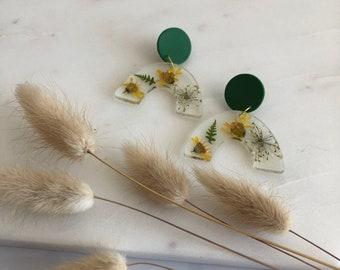 Floral Clay Earrings. Fern Earrings.