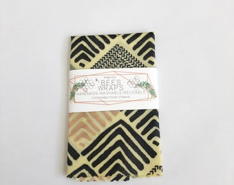 Modern Print Beeswax Food Wraps. Gray. Pink. Black. Triangles