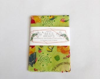 Winnie The Pooh Print Beeswax Food Wraps.