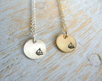 Sailboat Necklace, Silver Sailboat Necklace, Gold Sailboat Necklace, Nautical Necklace, Sailing Necklace