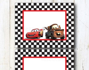 CARS Printable 2 Blank Signs - Print At Home! 2 per page - DISNEY CARS Birthday Signs feat. Lightning McQueen & Mater