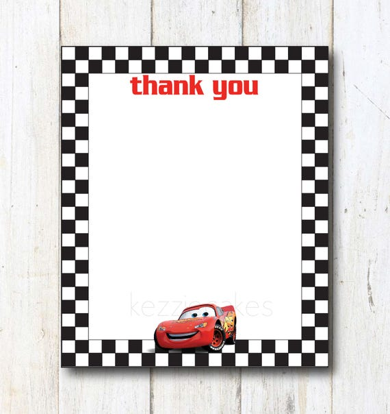 Cars Printable Thank You Cards Print At Home Disney Cars Etsy