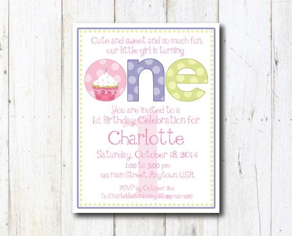 Cupcake 1st Birthday Invitation Print at home Cupcake Girl Etsy