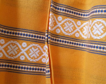 French Embroidered Napkins - Yellow Blue White Pays Basque Woven Jacquard Cotton Serviettes, Napkins - Set of 4, Table Linen, French Country