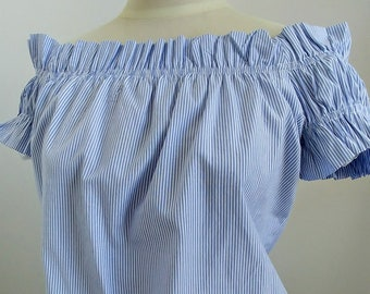Ladies Summer Peasant Top - Small Size 2 /4 - Fornarina Italian Cotton Blouse - Blue White Striped Off Shoulder Fashion Shirt - Vintage 90s