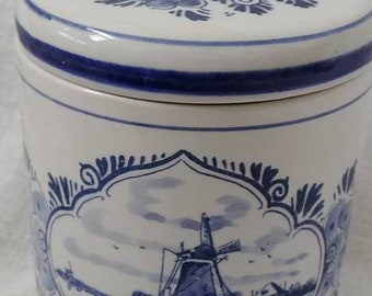 Vintage Holland Delfts Ceramic Canister - Blue and White Floral Wind Mill Handmade Dutch Container - Cottage, Country, Decor Collectible Jar