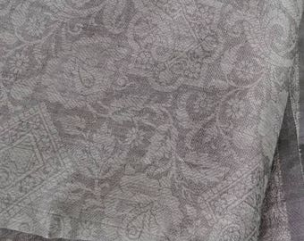 Indian Paisley Floral Sari Fabric in Taupe Gray - Fine Voile Woven Silk Blend  Damask Curtain - DIY Fashion or Home Decor 2 meters/ 2.16 yds