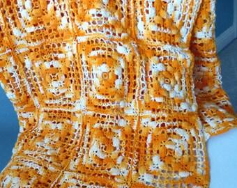 Mod Vintage 70s Crochet Mod Throw Blanket -Orange White Cotton Handmade Afghan -Fashion Shawl -Home Decor -Sofa Chair Bed Nursery Cover