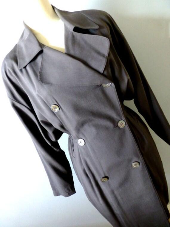 80s Designer Wrap Coat Silk Dress - Silk Shirt Dre