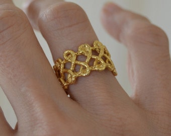 gold knot ring, gold adjustable ring, bold ring, gift for her, gold statement ring infinity knot, under 50