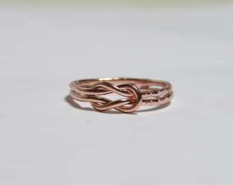 Infinity rose gold ring, rose gold infinity knot ring - symbol jewelry - infinity ring - everyday ring - sterling silver