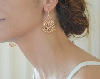 rose gold earrings - pink gold chandelier earrings - lace earrings - bridesmaid jewelry  - dangle earrings - wedding earings