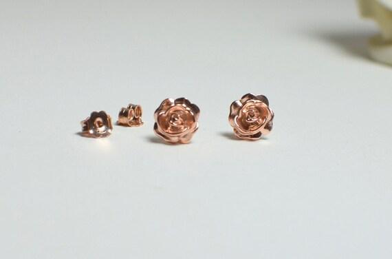 Rose Gold Flower Earrings Rose Earrings Rose Gold Studs Etsy