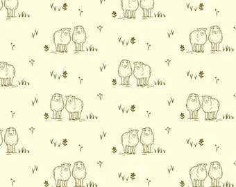 Hey Ewe in Aqua Windham Fabrics Homestead Life by Judy Jarvi 51522-9 Cream Sheep Print
