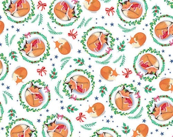 "Grey Orange Sleeping Fox 100/% COTTON CANVAS Printed Fabric Craft 58/"" 1708"