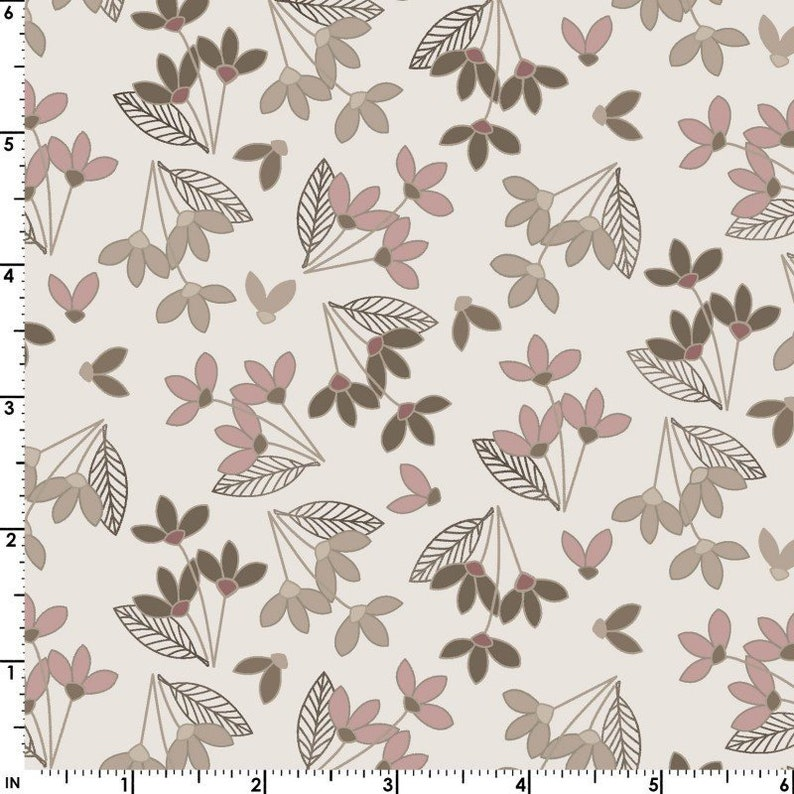 Neutral Ground Simple Flowers in Pink by Maywood Studio MAS8312-P By the Half Yard