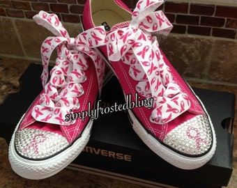 1d763d1aae1366 Breast cancer awareness bling converse