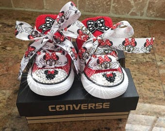 5746ac54af25 Toddler Minnie Mouse shoes with Swarovski crystals