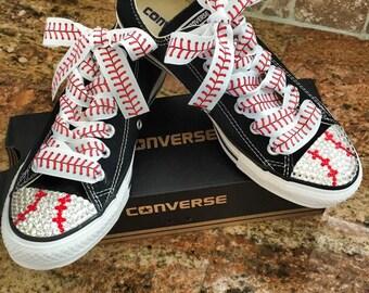 Baseball themed blinged converse