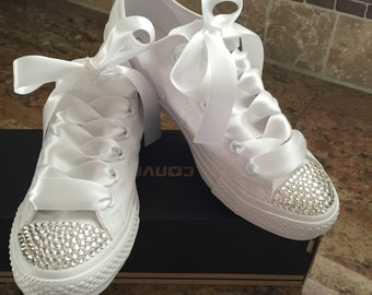 Solid white converse