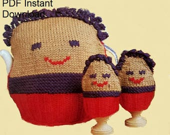 PDF Knitting Pattern Tea Pot and Eggs Cosy  PDF Instant Download