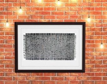 Black Paper Weaving- 24x48- Abstract Wall Decor- Black, Grey, Copper, White- Woven Paper Art- Crosswords