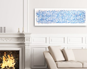 Blue Crossword Weaving- 17x53- Abstract Art- Woven Paper- Shades of Blue, White- Frame Not Included