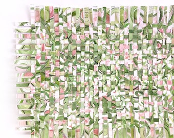 Greenery Paper Weaving- 9x12- Mixed Media- Watercolor- Abstract Art- Woven Paper- Pantone 2017- Spring Green, Pink, White