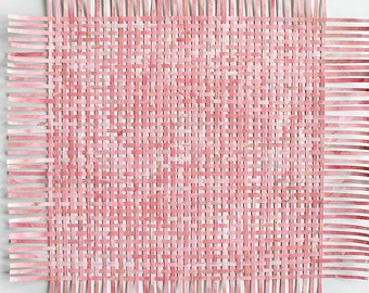 Pink Paper Weaving- 23 Inches- Original Mixed Media- Large Pink Art- Abstract Wall Art- Woven Papers