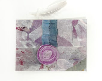 Paper Flower Collage- 5x7- Purple White Turquoise- Unframed