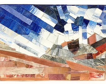Paper Mosaic Collage- 5x7- Wood Block- Abstract Landscape- Blue Copper White