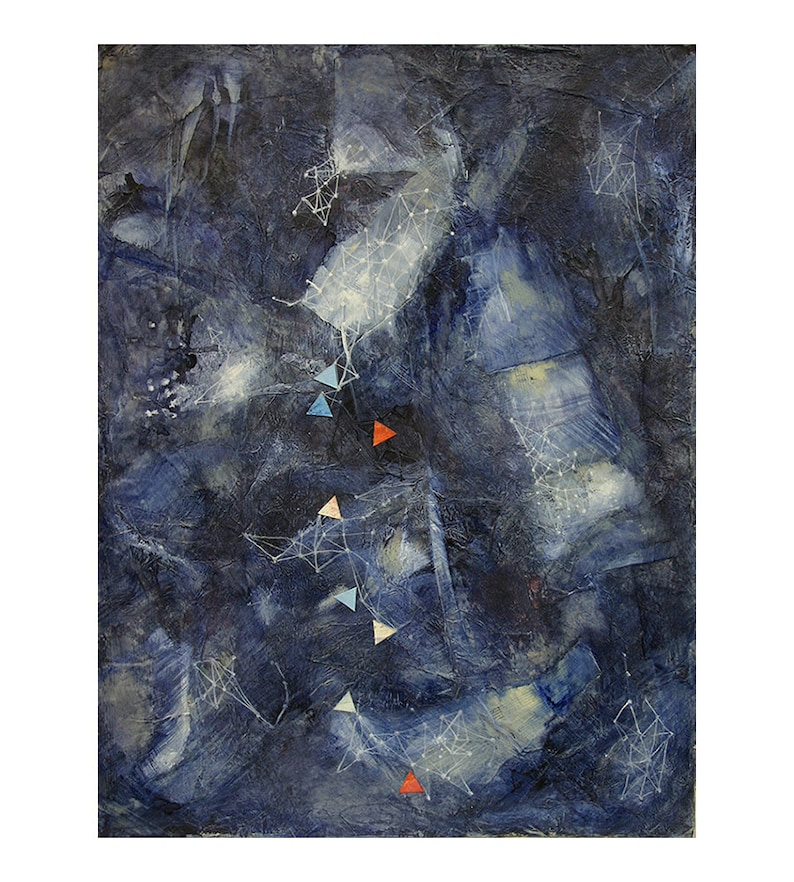 Music Constellation Abstract Painting- 12x16- Space Collage- Celestial Constellation- Dark Blue- Midnight Dance- Star Charts