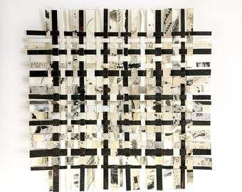 Crossword Weaving Art- 12x12- Puzzle Art- Abstract Art- Woven Paper- Woven Decor- Puzzles- Black White, Beige, Grey