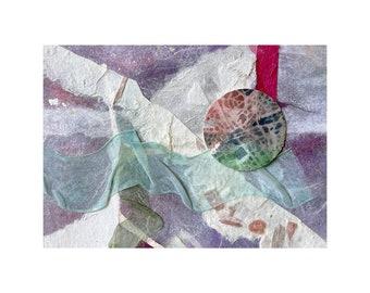 Ribbon Moon Collage- 5x7- Original Wall Art- Purple, White, Aqua- Unframed- Small Mixed Media