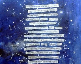 Sonnet 116- 11x14- Shakespeare- Star Collage- Mixed Media- sonnet cxvi- Blue, White- Celestial Art