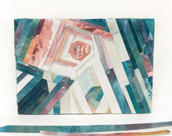 Watercolor Collage- 5x7- Paper Mosaic- Woodblock Art- Abstract Sky- Turquoise, Pink, White