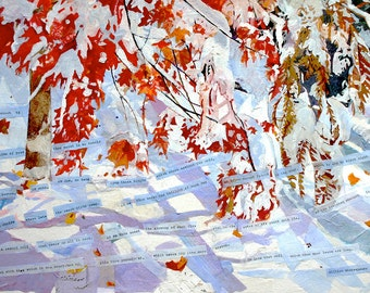 Sonnet 73 Collage- October Snow- Mixed Media on Paper- Shakespearean Sonnet lxxiii- Red, White, Lavender