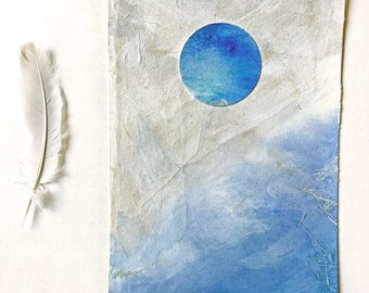 Blue Moon Collage- 5x7- Small Wall Art- Blue White Beige- Unframed
