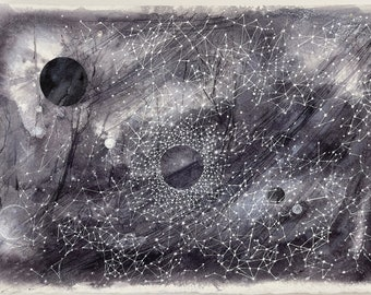 Black Celestial Painting- 10x15- Black, White, Grey- Abstract Star Charts- Moons and Planets